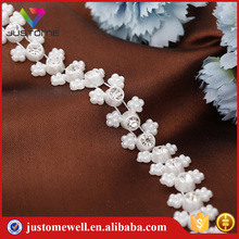 Pearl rhinestone banding trim roll plastic chain trim with crystal