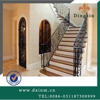 Import used wrought iron stair railing from China manufacture /square pipe railing /wrought iron railing parts