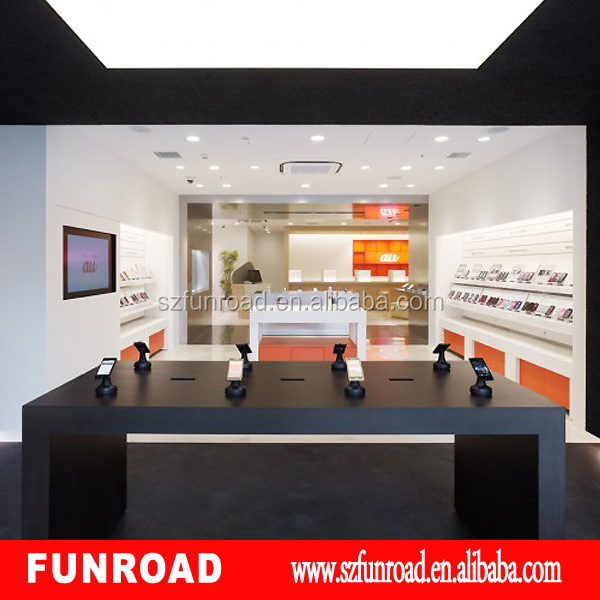 China supplier mobile phone store interior decoration, showcase for mobile phone shop with led light for hot sale