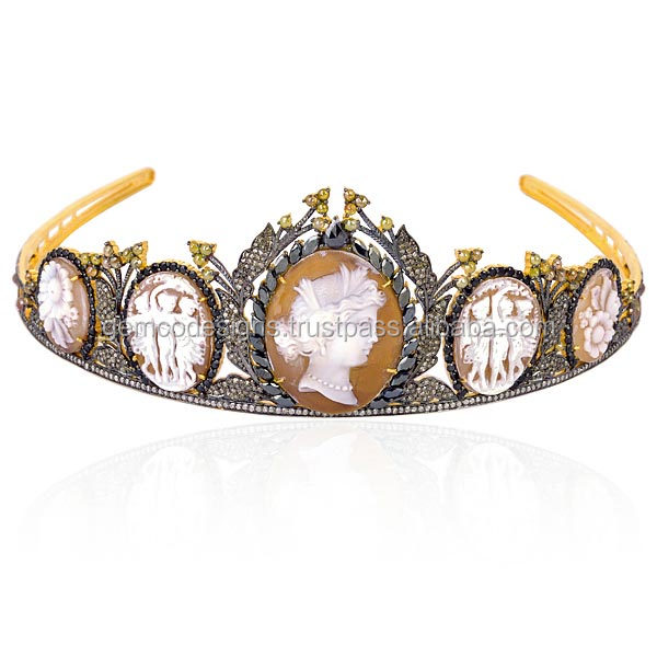 Agate Cameo Gemstone Diamond Tiara 18k Yellow Gold Wholesale Handmade Crown Jewelry