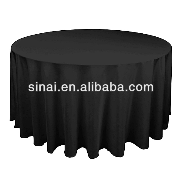 Factory Price Beautiful Wedding Favors / Black Hotel Tablecloth / Polyester Table Cloth
