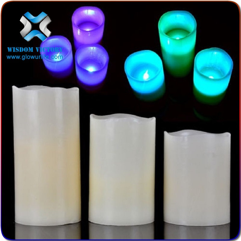 halloween Illumination LED paraffin wax Candle lights bluetooth app, flashing led candle with battery