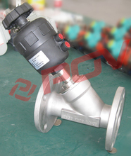 double acting pneumatic flange angle seat regulating valve with hand wheel