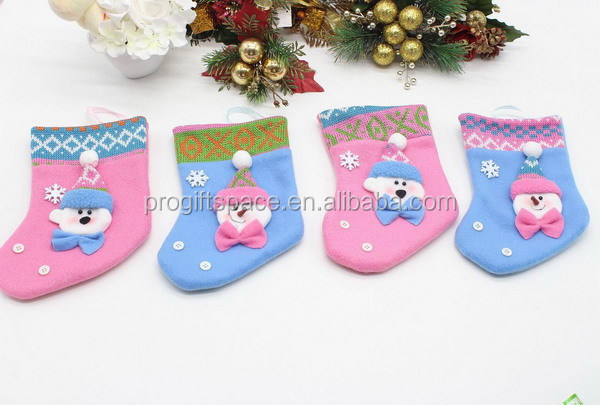New 2017 blue and pink set of the fabric stocking hanger holder wool felt Christmas socks santa with snowflake and buttons decor