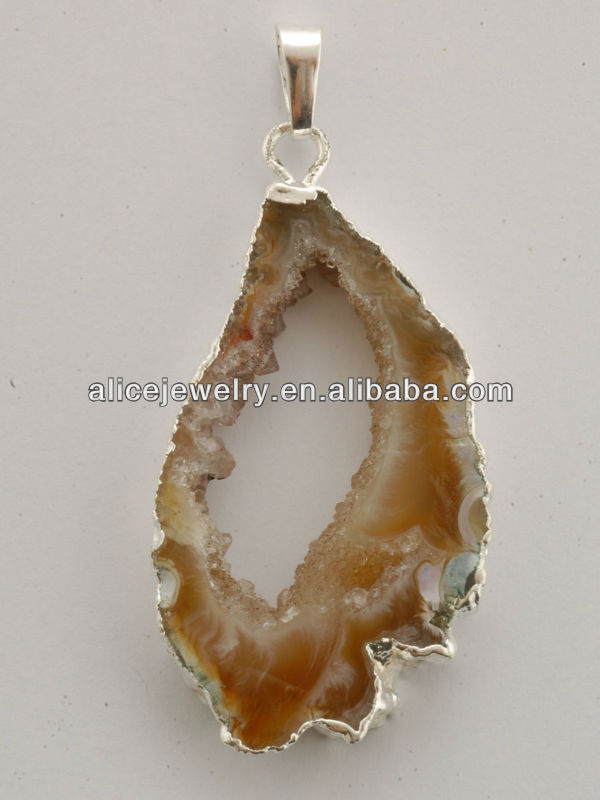 Geode Slice Pendants Semi Previous Stone