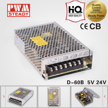 D-60W Dual output led smps constant Voltage 5v 24v enclosure electric dc switching mode power supply