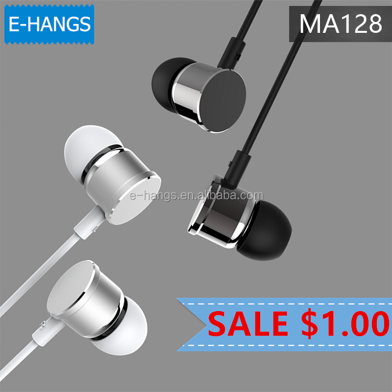 2017 The Best Price Cheap Earphones Metal Earphones wired with MIC Only 1 Dollar