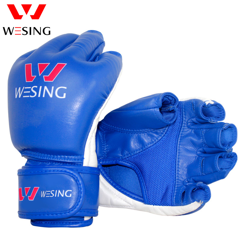 microfiber leather mma grappling boxing gloves mitts with half finger hand protector