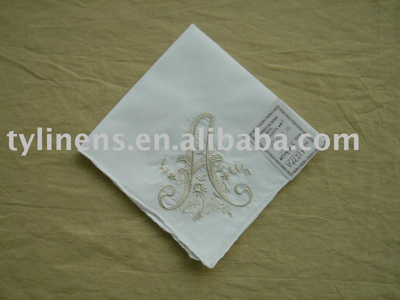 Initial machine embroidery ladies cotton handkerchief