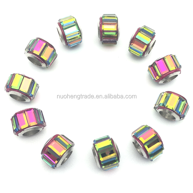 Wholesale Colorful Crystal Zinc Alloy Cheap European Beads with Crystal Rondelle
