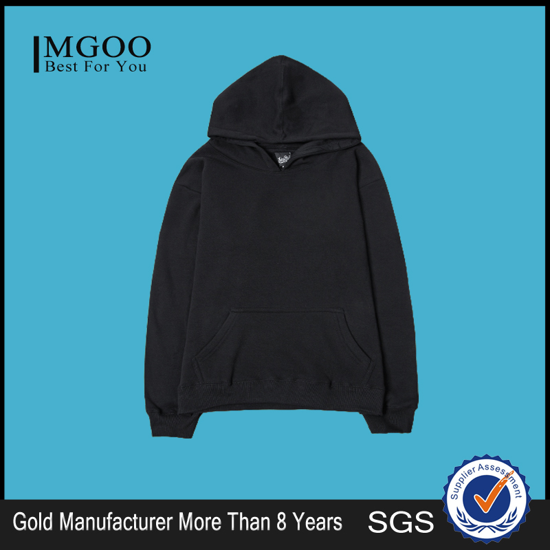 MGOO High Quality Plain Apparel With Hood Front Pocket Winter Sport Sweatshirts For Men Black Long Sleeve Sweatershirts