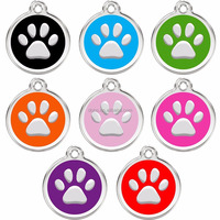 Stainless Steel Pet Dog Cat ID Tags Paw Shape Personalized Custom Engraved Tag