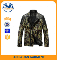 quilted leather camouflage trench coat men pu jacket