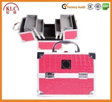 High Grade Rose Crocodile Pattern Aluminum Cosmetic Case Makeup Case Beauty carrying case