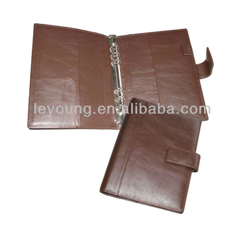 Economic A5 6 ring leather agenda cover with magnetic closure