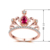 Fashion Jewelry Rose Gold Colorful Crown Red Rhinestone Women Engagement Ring