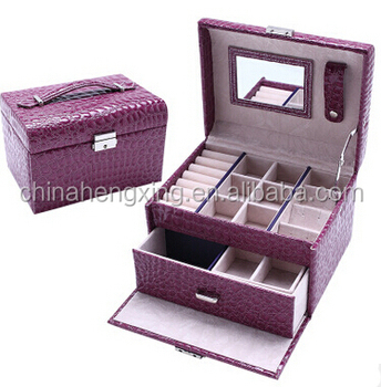 HX-BL023 Large Capacity Creative Portable Jewelry Leather Box