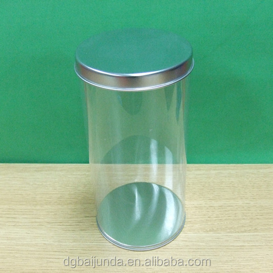 clear PVC container with silver metal lids
