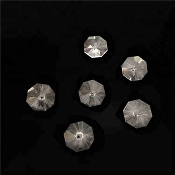 14mm clear crystal k9 octagon bead with middle holes, crystal accessories chandelier parts for diy wedding & home decoration,