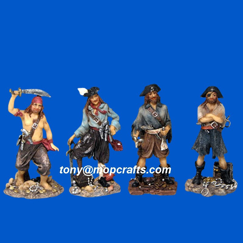 Polyresin nautical statue resin pirate figurine