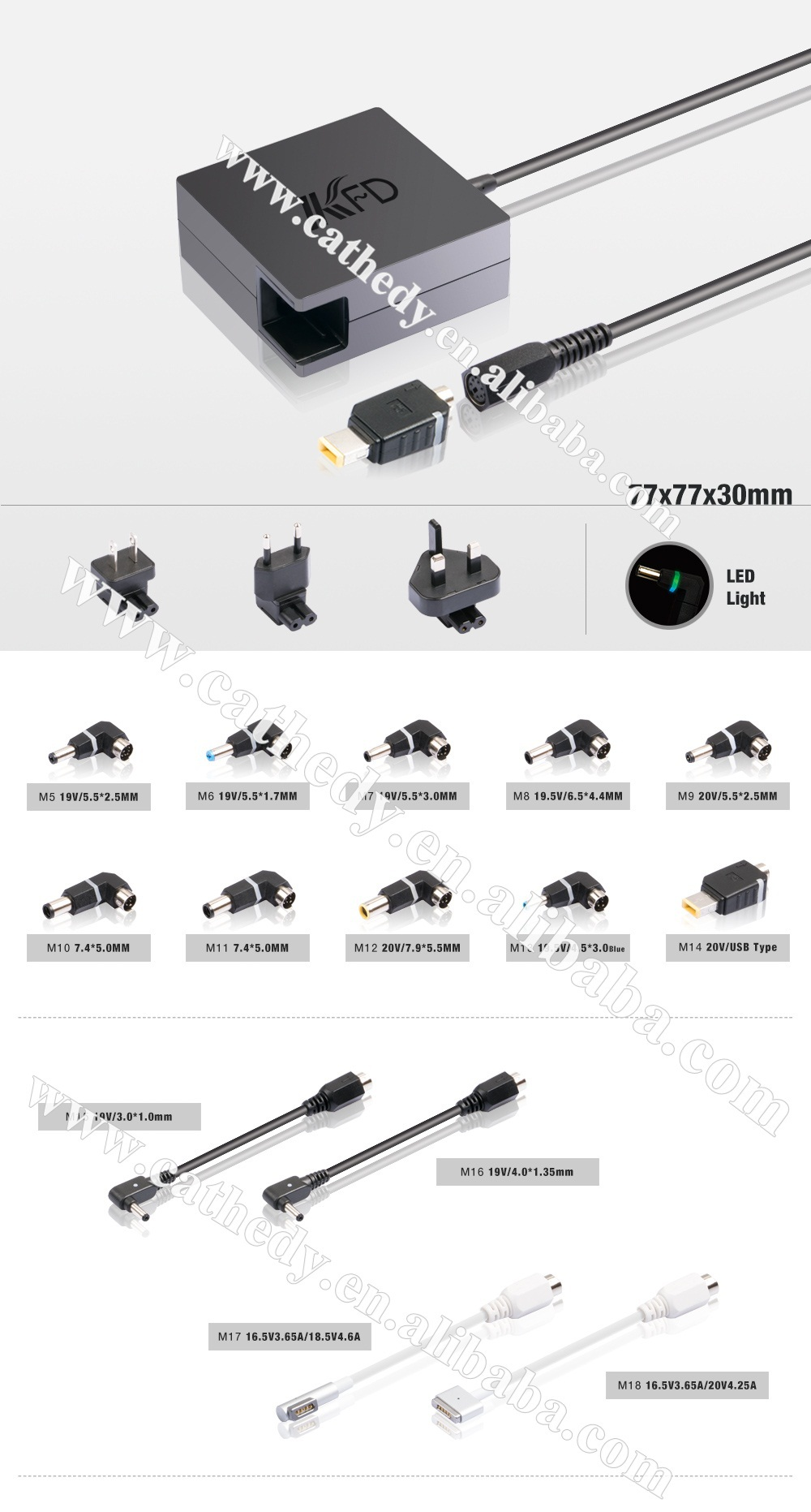Automatic 90W Universal Laptop Adapter with 10 connectors LED light