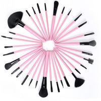 32pcs professional pink goat hair makeup brush set/cosmetic brushes kit/private label free sample with pink make up brush pouch