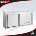 Commercial Restaurant Stainless Steel Kitchen Wall Cabinet with Sliding Doors & Splashback
