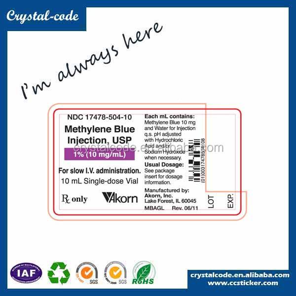 Eco-friendly actavis prometh cough syrup product aluminum label sticker