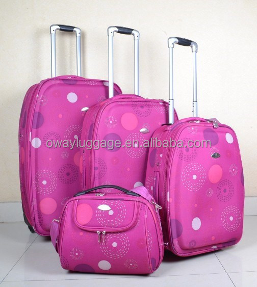 factory overrun printed 4pcs trolley luggage set 600D polyester