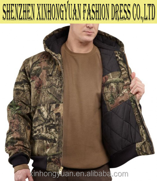 Quilted-flannel lined camouflage jacket, durable workwear, winter outdoor wear