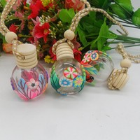 car refresh glass material empty hanging car perfume bottle