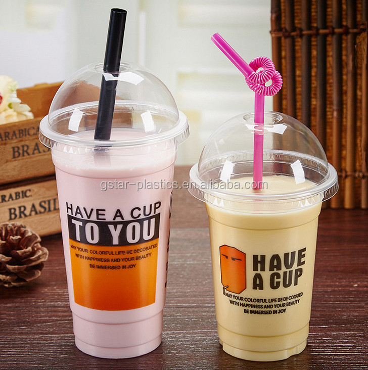 16oz Bubble Tea PP Cups Disposable Plastic Milkshake Smoothie PP Cups with Lids and Straws from 9oz to 32oz