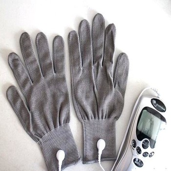 Silver fiber electric massage gloves