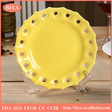 stoneware plate yellow hollow porcelain round shallow plate ,hotel and ceramic restaurant dinner plate accept custom design