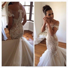 Sexy See through Back Elegant Bridal Dresses Vestido De Noiva Designer Mermaid Lace Wedding Dresses 2017 MW2180