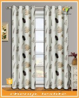 100% polyester high quality leaf printed blackout curtain design for bedroom eyelet curtain in 2015
