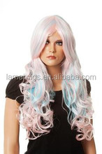 HW0081 women synthetic wigs,two tone synthetic wig, long big curly wigs