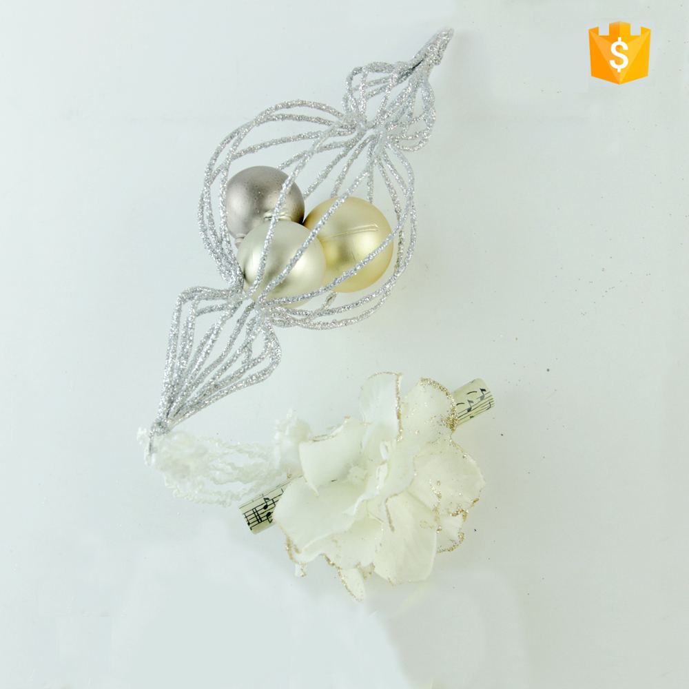 High sales 7 inch wire silver gourd shape Christmas decorations with ball