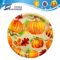 Round plastic tray with pumpkin drawing
