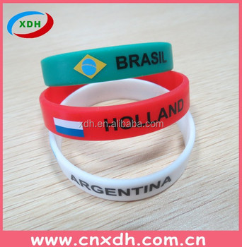 hot sale colorful world cup silicon fashion bracelet