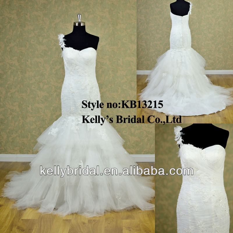 2014 one-shoulder elegent mermaid discount bridal gown