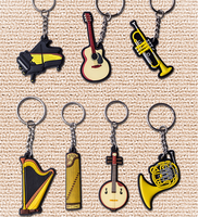 personalized music piano guitar saxophone lovely Gift soft pvc rubber skull keychain holder keyring