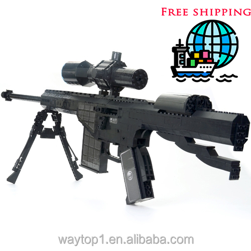 Military <strong>M107</strong> Sniper rifle assembly Arms Model Assembled Toy Brick Building Blocks Weapon Toys For Children/adult
