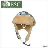 BSCI audit fashion cap and ear flap mens winter fur hat