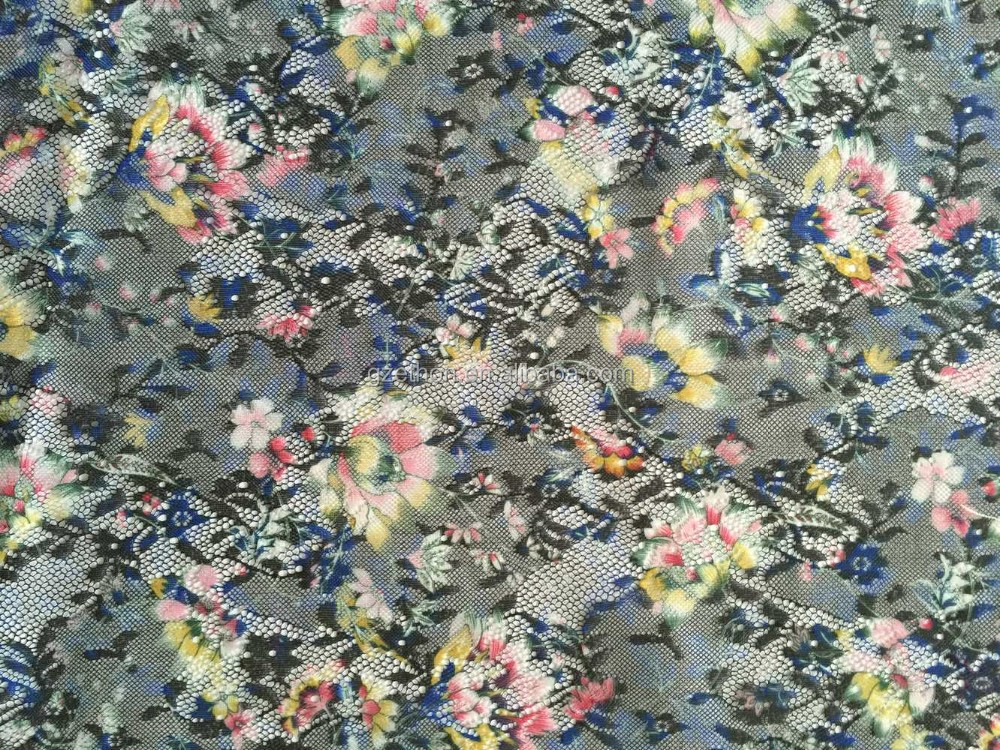 China supplier fancy cheap colorful 100% polyester lace design with digital print