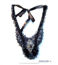 Vintage Sexy Hand made Fabric Lace Paillette Collar Necklaces & Crystal Choker Statement Necklace For Women Ornaments