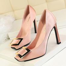 SW1198 latest shiny buckled square head thin high heel 10cm women shoes