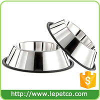 With Rubber Base Non-Skid pet food and water bowl Stainless Steel Dog Bowls