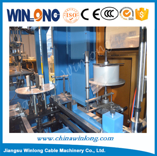 Automatic wire / cable coiling and empty center shrink wrapping machine with feeding film