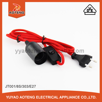 VDE approved switch lamp holder power extension line/cord European two core 0.5mm2 or 0.75mm2 E27 lamp holder line